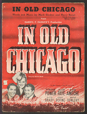 In Old Chicago 1937 ALICE FAY/Tyrone Power/DON AMECHE Movie Vintage Sheet Music