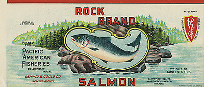 Vintage Mint ROCK brand 1915 SALMON CAN LABEL - Pacific American - Genuine