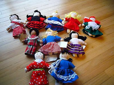 Set 10 Ethnic Cultural International Doll Dayton-Hudson Small Multineedles RARE