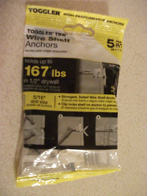 """New Toggler Wire Shelf Anchors for 1/2"""" Drywall - 50250 pack of 5 -Holds 167 lbs"""