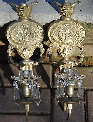 (2) Vintage  Brass Gold Candle Sconce Wall Fixtures w/ Prisms
