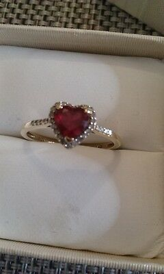 9Ct Yellow Gold Ruby & Natural Diamond Heart Ring Size Q 1/4