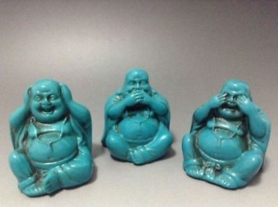 old Tibet Turquoise hand carved 3 smile the Buddha