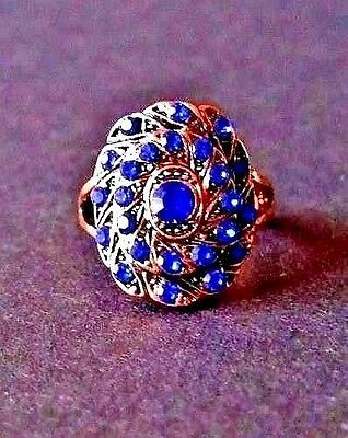Georgian Style Copper Ring with Bright Blue Rhinestones Size 6.5