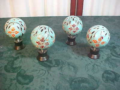 4 Retro Large Ball Shaped Multi-Colored Floral Designed Drawer Pulls