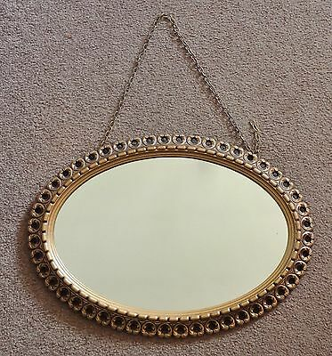 Lovely Vintage C1970's Oval Wall Hanging Ornate Resin Mirror