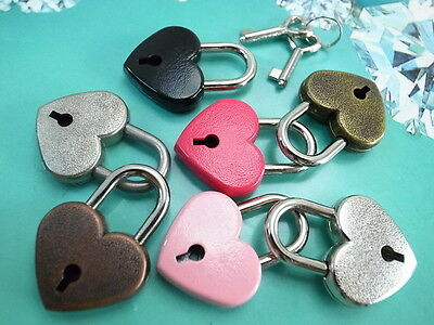 OLD Antique Vintage  Style Small  Padlocks with Keys (Lot of 7) Assorted Color