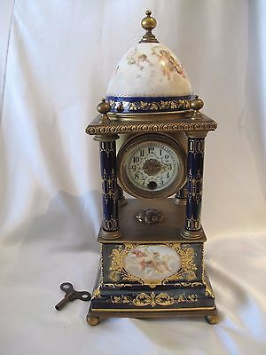 Antique French Clock Hand Painted Porcelain And Brass