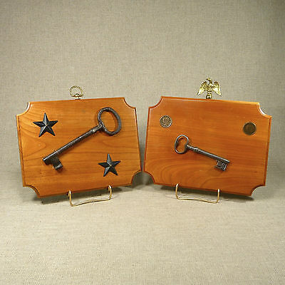 Iron Keys, 1848 & 1851 Half Penny Mounted Cherry Plaque Display Antique American