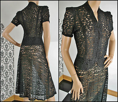 30s 40s Black Floral Patterned LACE Flared Skirt & PUFF SLEEVE Blouse Size S/XS