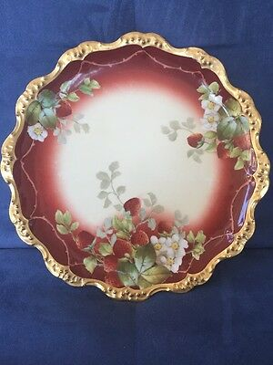 """Limoges Hand Painted Strawberries Gold Rim Plate 10"""" France"""