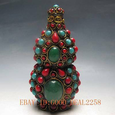 Tibet Old Handwork Turquoise Beads Snuff Bottle /38
