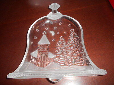 A Xmas Glass Plate Boxed Vintage Church Pine Trees Stars