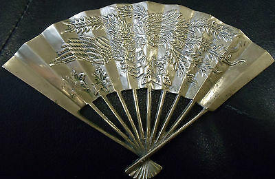 "Vintage Brass Asian Fan Wall Hanging Chinoiserie Wall Art 9"" x 6"" Dragon Design"