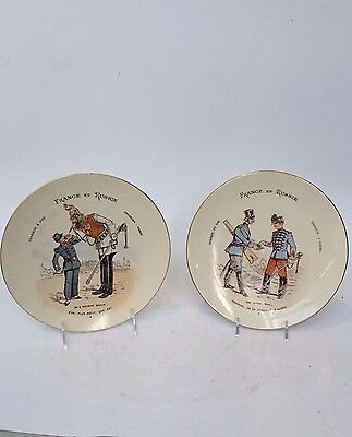 Antique Russian Pair of French-Russia K&G Luneville Porcelain Decorative Plates