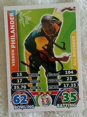VERNON PHILANDER CRICKET SIGNED IN PERSON ATTAX WORLD CUP CARD Tap n Play