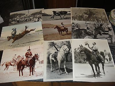9 LARGE VINTAGE RODEO & WESTERN PICTURES ca 1950'S CASEY TIBBS ANDY JAUREGUI
