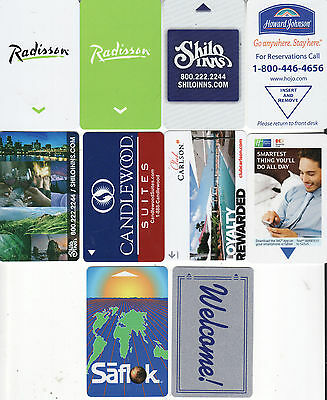 LOT of 10 different HOTEL ROOM PLASTIC KEY CARDS