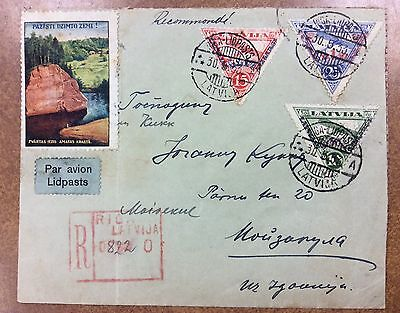 {BJ Stamps} Latvia CB3-5 1933 Registered Airmail Cover to Estonia