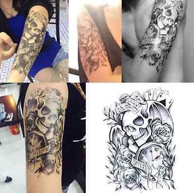 Large Tattoo Skull Temporary Body Arm Stickers Black Removable Waterproof 604