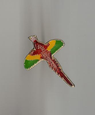 Vintage Colorful Flying Pheasant small old enamel pin
