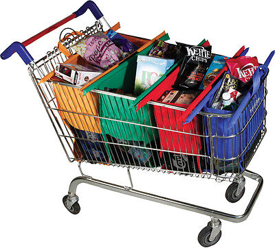 Set of 4 NEW Reusable Shopping Trolley Bags Eco-Friendly Grocery Cart Carrier...