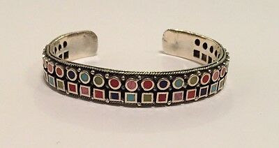 Vintage Sterling Silver Bangle Bezel Coral/ Turquoise Colored Stones 24.7 Grams