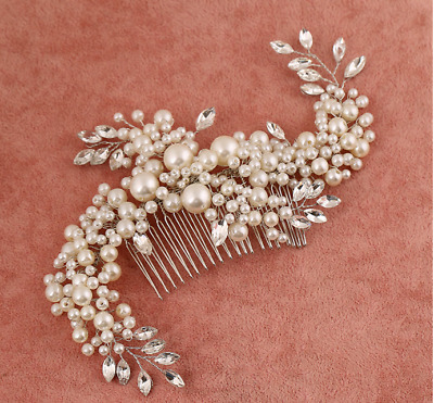 Pearl Bridal Hair Comb Ivory Beaded Headpieces Diamante Wedding Hair Accessories