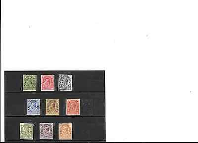 TURKS & CAICOS, SC 45-54, 1922 KGV part set, most MLH (one used - see scan).