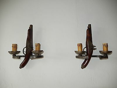 ~c1920 French Flintlock Duelling Pistol Sconces Vintage Original Gun Wood Metal~