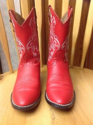 Kids Justin Red Western Boots Sz 1D