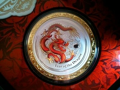5 OZ China Drache 2012 farbig & Goldrand, Lunar Dragon 8$ Goldring 999er Silber