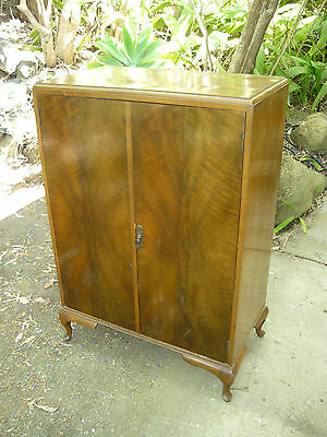 Vintage Antique Gents Wardrobe Lowboy w/ Cabriole Legs 3 drawers Solid Timber