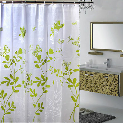 Shower Butterfly Leaves Style Curtain Waterproof Bathroom Bath Curtain with Hook