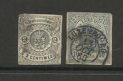 LUXEMOURG ~ 1859-60 CLASSIC 2c & 10c IMPERF (POSTALLY USED)