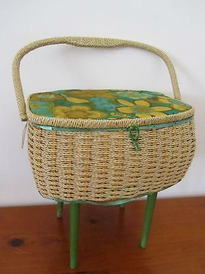 Vintage RETRO Wooden Wicker Large SEWING CRAFT Storage BOX With LEGS
