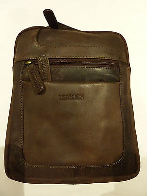 NEW LEABAGS Detroit genuine buffalo leather messenger bag in vintage style Brown