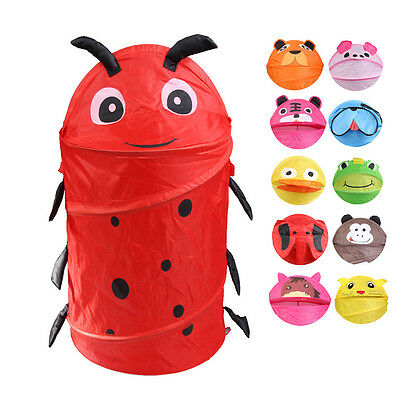 1x Cute Animal Storage Bucket Folding Cylinder Laundry Basket Toy Clothes Box