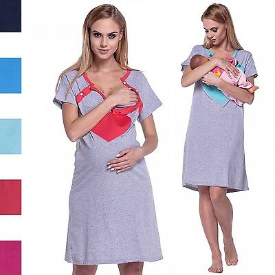 Happy Mama. Women's Maternity Nursing Breastfeeding Nightdress Shirt Gown. 873p