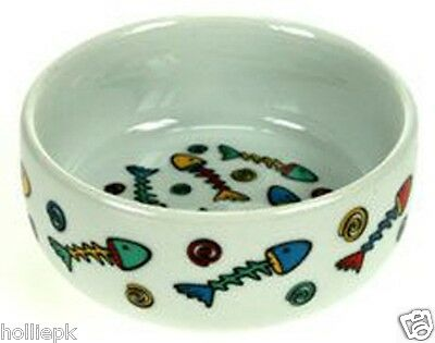 12 Cm Ceramic Cat Kitten Bowl Dish With Colourful Fishy Design 4.5 Inches