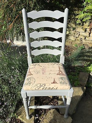 Set of Four Vintage Oak Ladder-back chairs hand painted in Autentico French Grey