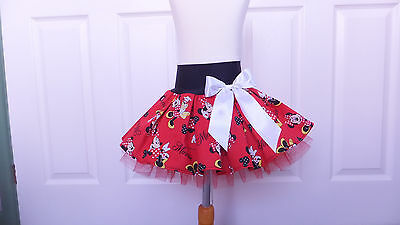 NEW HANDMADE CHILDS RED BLACK MINNIE MOUSE TUTU SKIRT DANCE PARTY 5 - 6 yrs