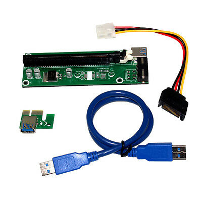50CM USB 3.0 PCI-E Express 1x to 16x Extender Riser Card Adapter Power Cable UK