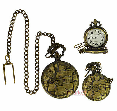 Handmade Vintage Different Vehicles Design Pocket Watch With Long Chain