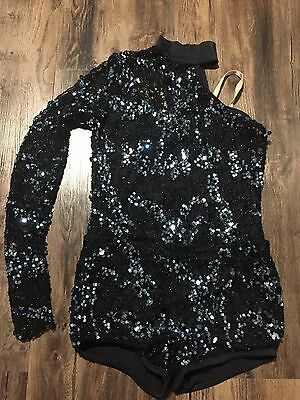 Dance Costume Pre Owned size Large Child Black Unitard with Blue Sequins