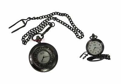 Handmade Vintage Replica Black Flower designed Pocket Watch with long chain