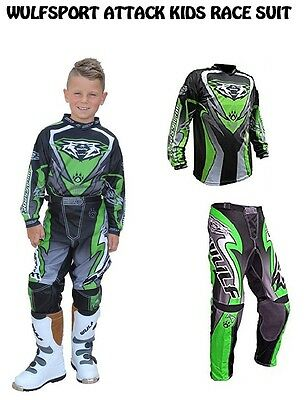 Wulfsport Attack Kids Race Suit Quad Pit Bike Motocross Green Jersey & Pant 2017