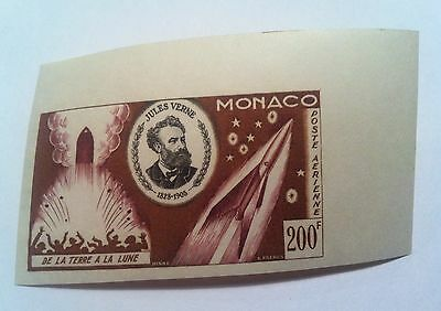 Monaco 1955 MNH Airmail Jules Verne Imperforated Color proof