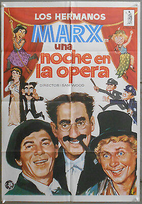 WQ95 MARX BROTHERS A NIGHT AT THE OPERA rare 1sh SPANISH POSTER