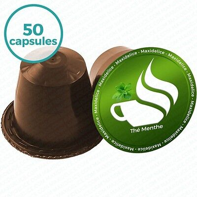 50 capsules compatibles Nespresso® Thé Menthe Maxidélice-Maxidelice-803340647332